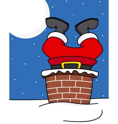 Santa claus comes down the chimney vector