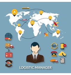 Logistic manager infographics vector