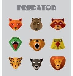 Predator animals icons format vector