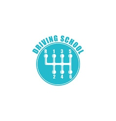 Driving school logo six gearshift knob blue emblem vector