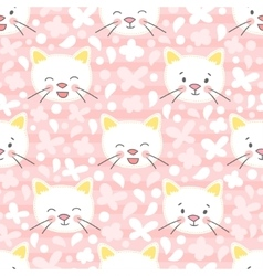 White kitten seamless pattern vector