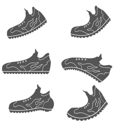 Set of gray sport shoe icons vector