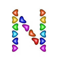 Letter n made of multicolored hearts vector