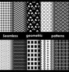 Set of 6 monochrome seamless patterns vector