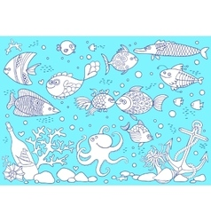 Coloring of underwater world aquarium with fish vector