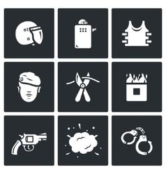 Set of special forces icons uniform vector