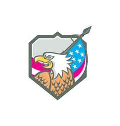 American Bald Eagle Flag Spear Retro vector image