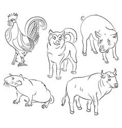 Bull cock dog pig rat vector