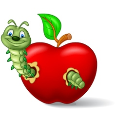 Caterpillar eat the apple vector image vector image