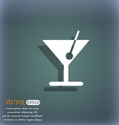 cocktail icon symbol on the blue-green abstract vector image