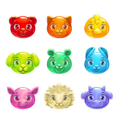 cute cartoon colorful jelly animals faces vector image vector image