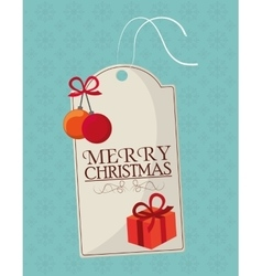 Gift sphere and label of christmas season design vector