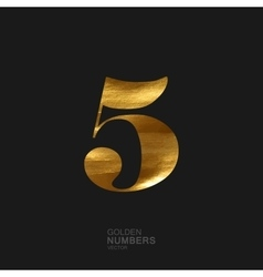 Golden number 5 vector image