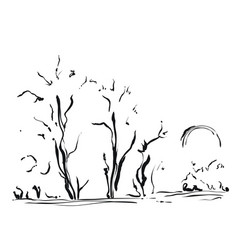 Hand drawn with trees cartoon vector