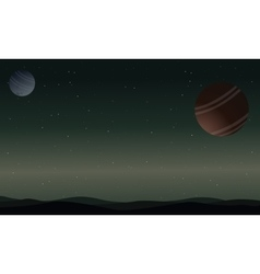 Landscape of outer space desert with planet vector