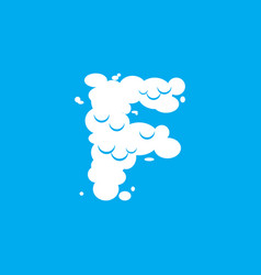 Letter f cloud font symbol white alphabet sign on vector