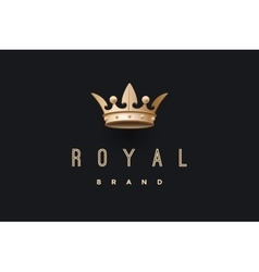 Logo with gold king crown and inscription royal vector