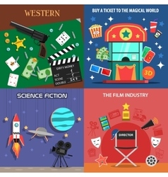 Movie flat icons set vector