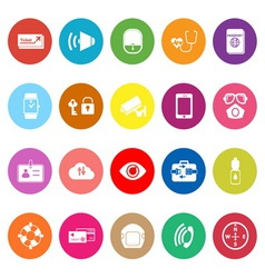 Passenger security flat icons on white background vector
