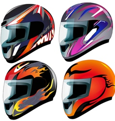 Racing helmets set vector