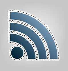 Rss sign blue icon with vector