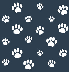 seamless monochrome cat paws pattern vector image vector image