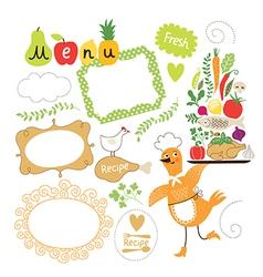 Set of cartoon food ingredient vector