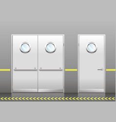 set of technical doors with portholes vector image