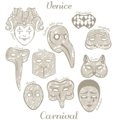 Set of venetian carnival masks vector
