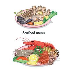 Sketch colorful seafood menu concept vector