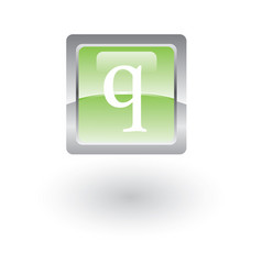 square glossy icon letter q vector image vector image