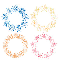 stars frame decoration set sketchy hand drawn vector image