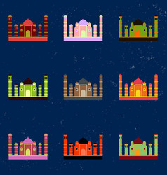 Taj mahal temple indian pagoda collection vector