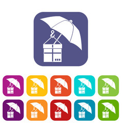 umbrella and a cardboard box icons set vector image