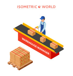 warehouse manager or warehouse worker with bar vector image vector image