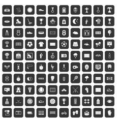 100 stadium icons set black vector