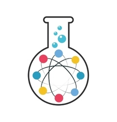 Test tube with atom icon vector