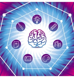 creativiy concept - brain icon on blue back vector image