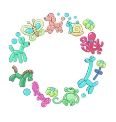 Round frame made of twisted balloon animals vector