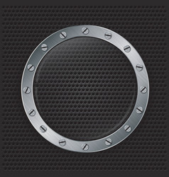 Glass in mettalic frame on abstract speaker grill vector image