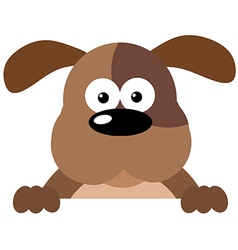 Cartoon dog over a sign vector