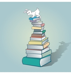 Rabbit and books vector