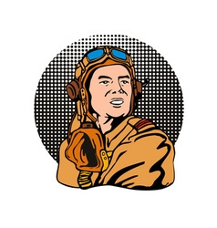 World war two pilot airman retro vector