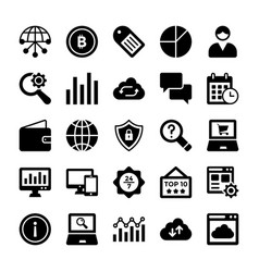 Seo and digital marketing glyph icons 8 vector