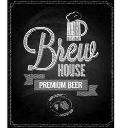 Beer menu design house chalkboard background vector