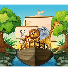 Animals and boat vector image