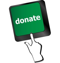 Donate button on computer keyboard pc key vector