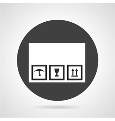 Cardboard box black round icon vector