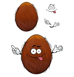 Cute happy cartoon coconut with a cheesy grin vector