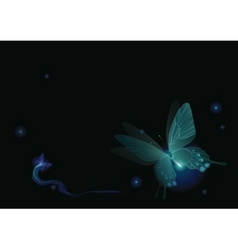 Luminous butterflies in darkness vector